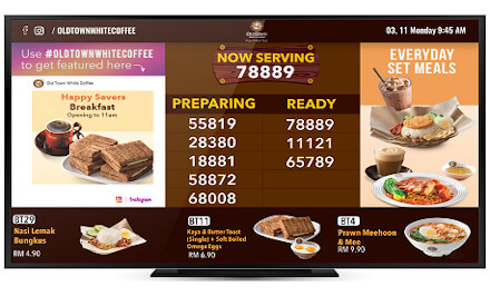Digital Menu Board for Old Town White Coffee